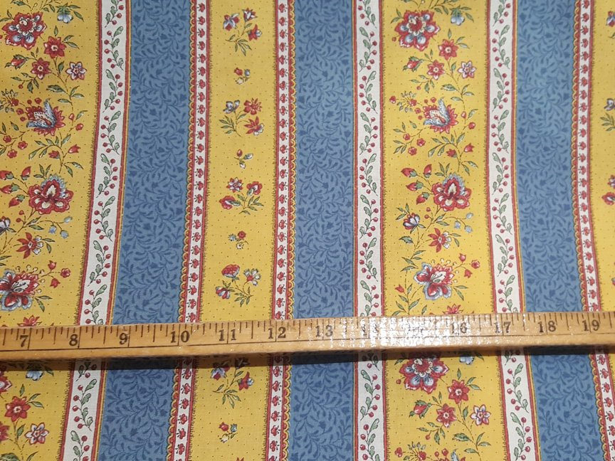 French Blue and Gold Floral Quilt Piece #672