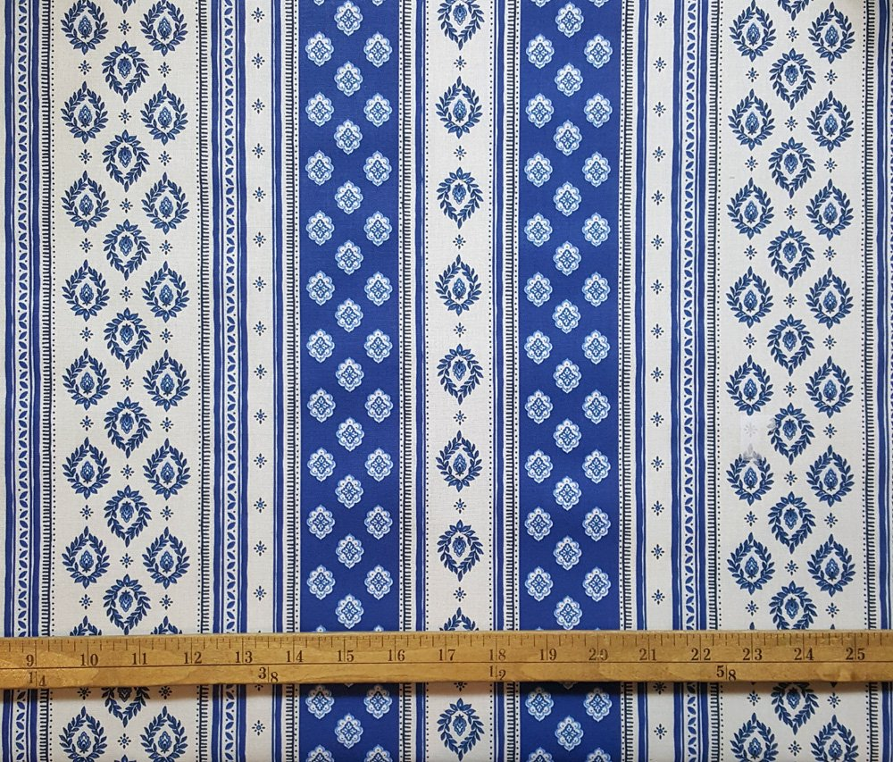 French Blue & White border fabric #680