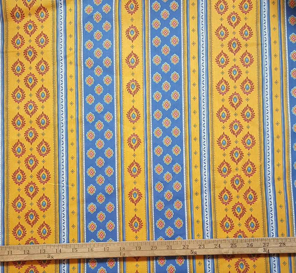 French Blue & Gold border fabric #682