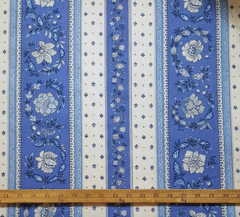 French Vence fabric (Blue & White border) #686