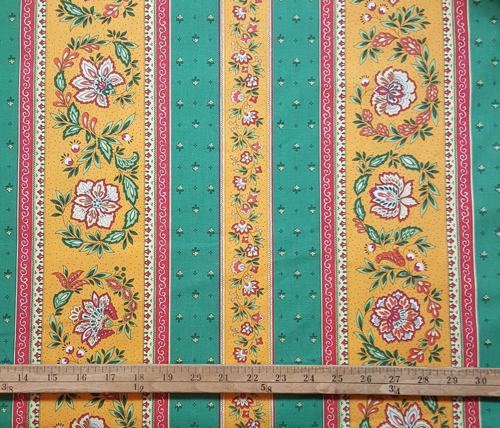 French Vence fabric (Green & Gold border) #687