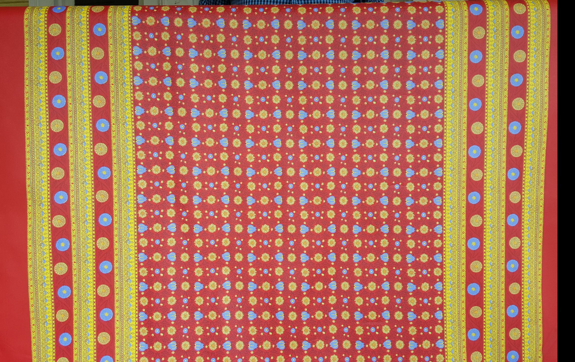 Acrylic Coated Red Floral Fabric with Border #569
