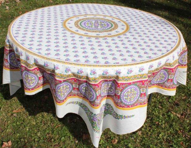 Camargue pink floral cotton tablecloth panel