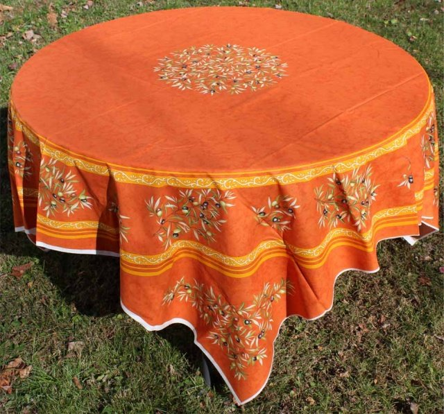 70 French Acrylic-Coated Tablecloth Panel Olive (Orange)
