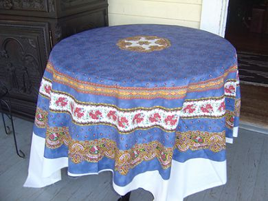 70 French Cotton Tablecloth Panel Tradition (Blue)