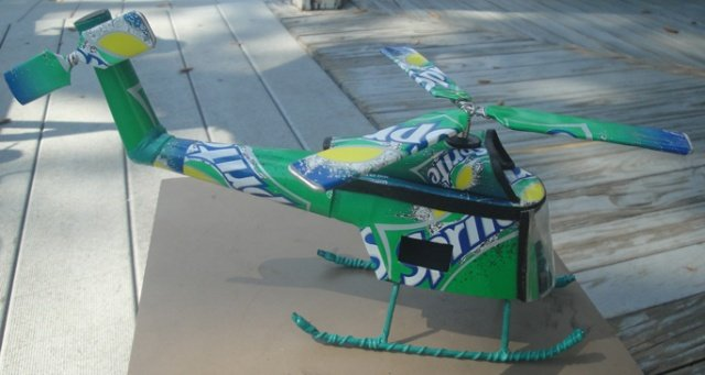 Green Helicopter (Recycled Metal)