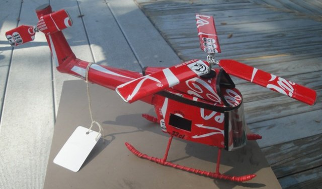 Red Helicopter (Recycled Metal)