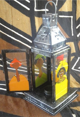 Medium Painted Glass Lantern #001 (Recycled Metal)