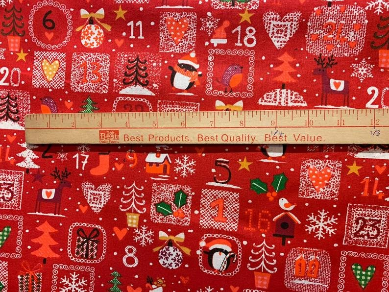 French Red Advent Calendar Fabric (62 wide)