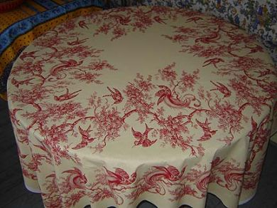 French toile square tablecloth panel #14
