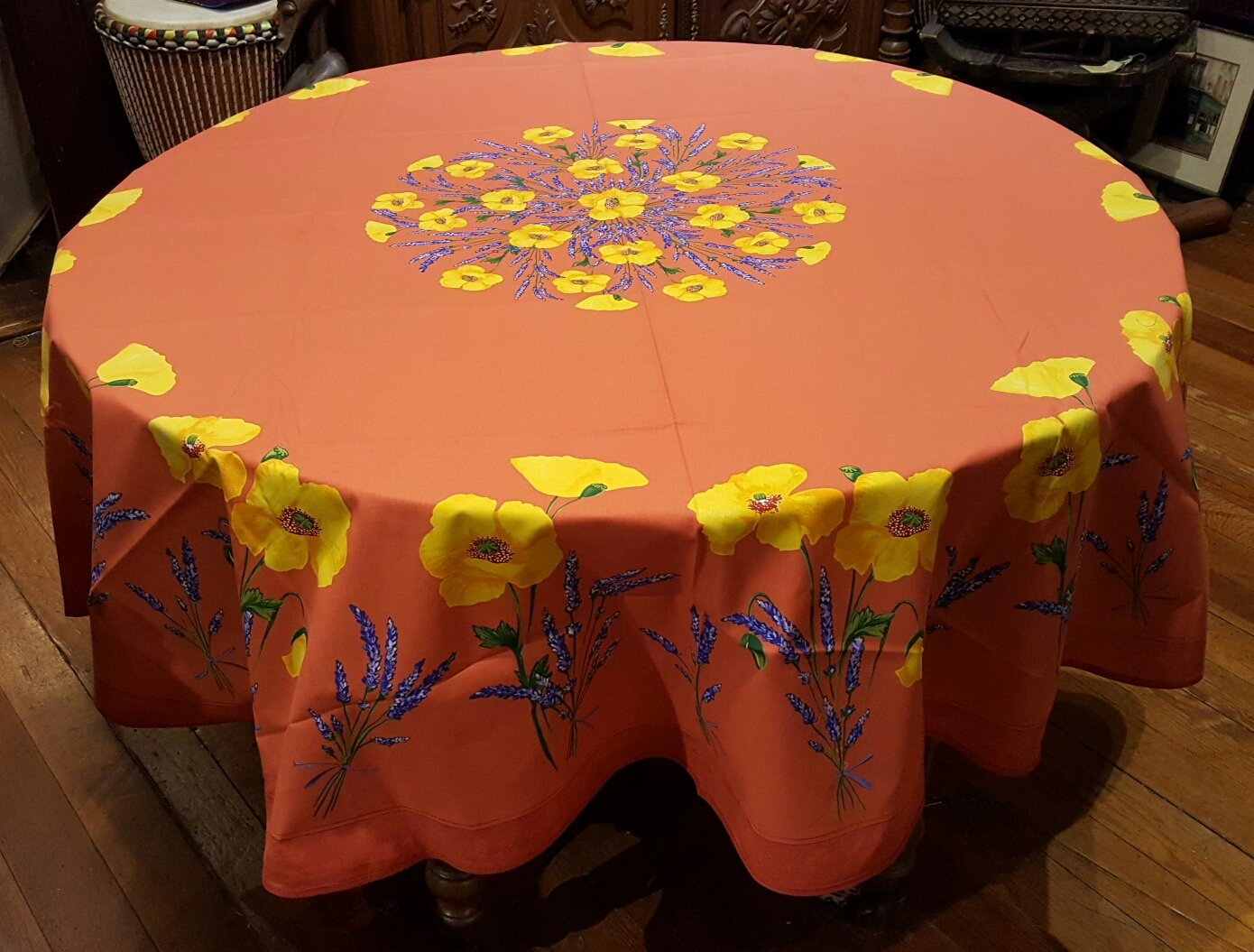 70 French Cotton Round Tablecloth Poppy (Red)