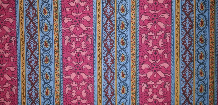 Souleiado pink/blue border fabric yardage