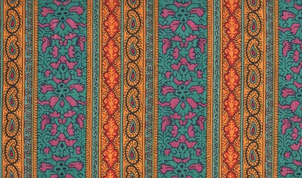 Souleiado teal border fabric yardage