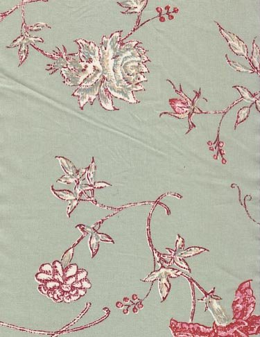 Souleiado green floral fabric (France)