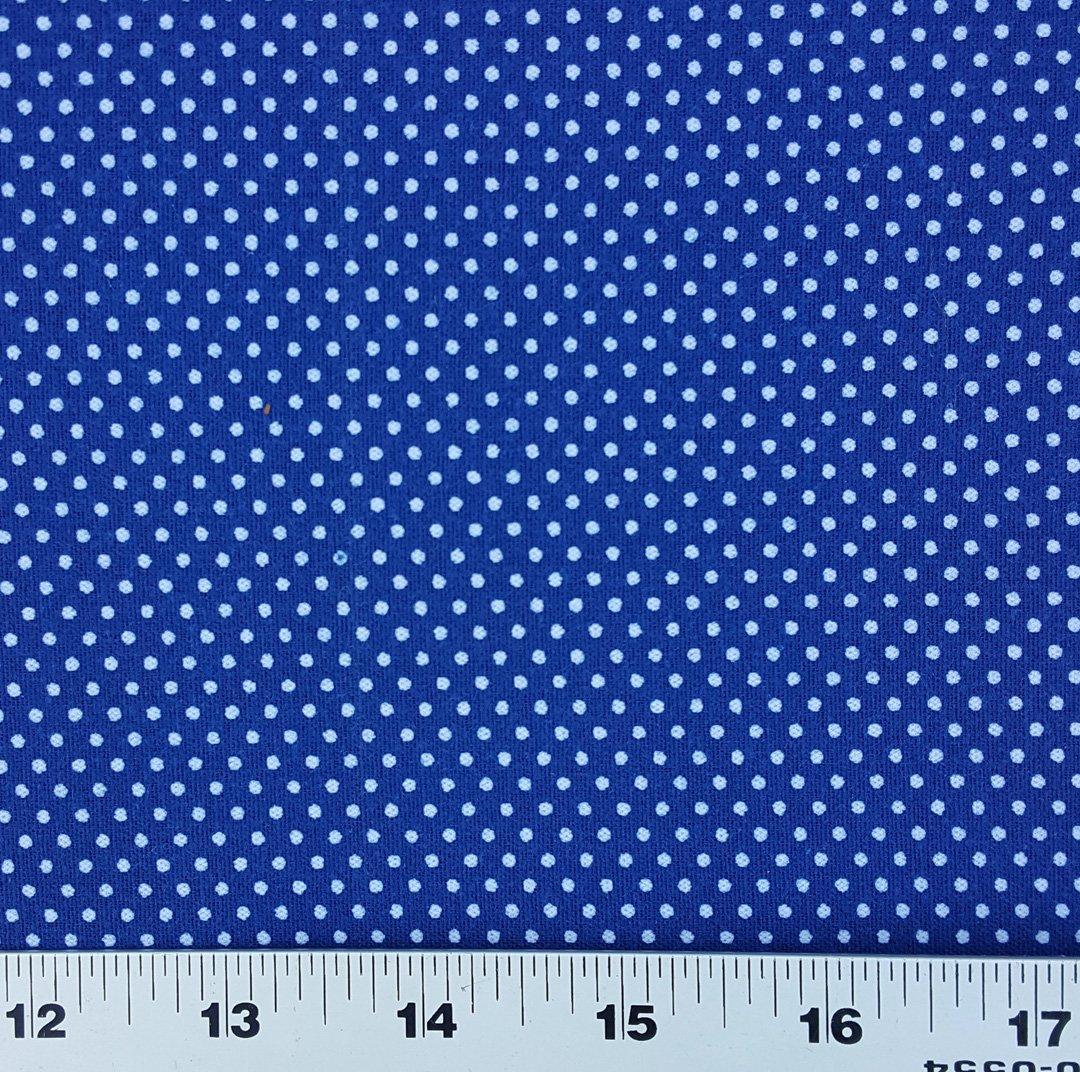 Indigo blue polka dot shweshwe fabric (455)