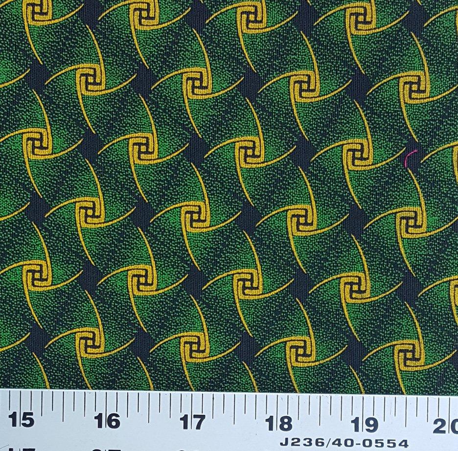 Green yellow and black shweshwe (9532)