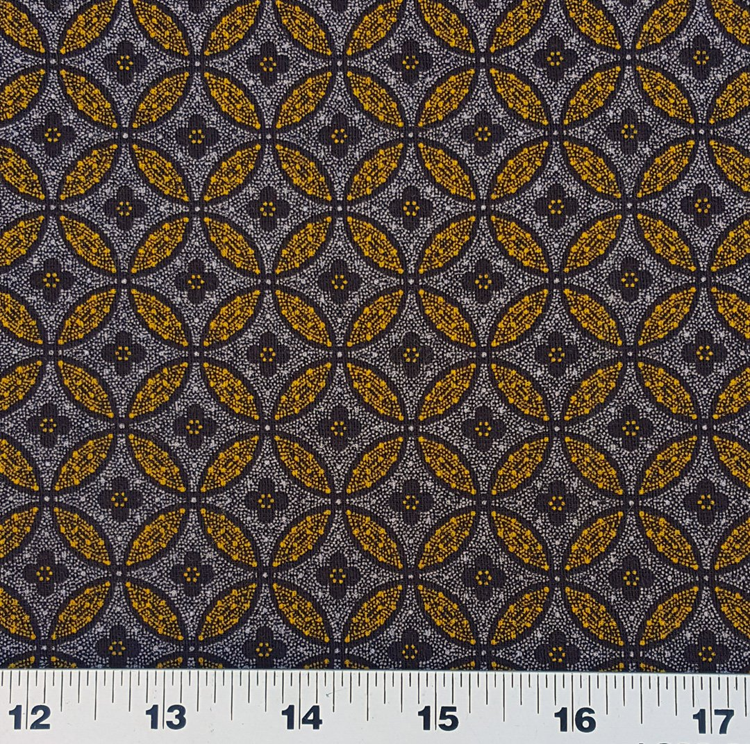 Gold on brown Cathedral window shweshwe fabric (0304)