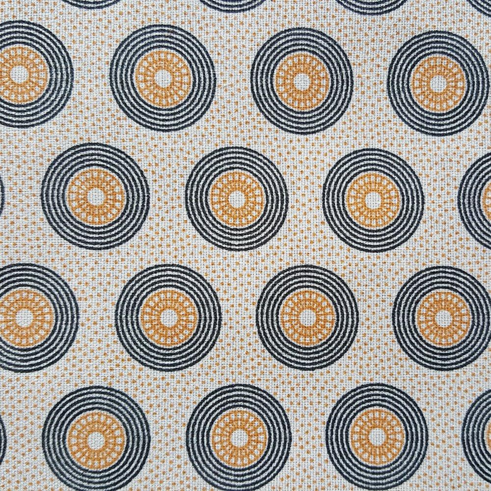 Mustard and black large circles on cream shweshwe (0399)