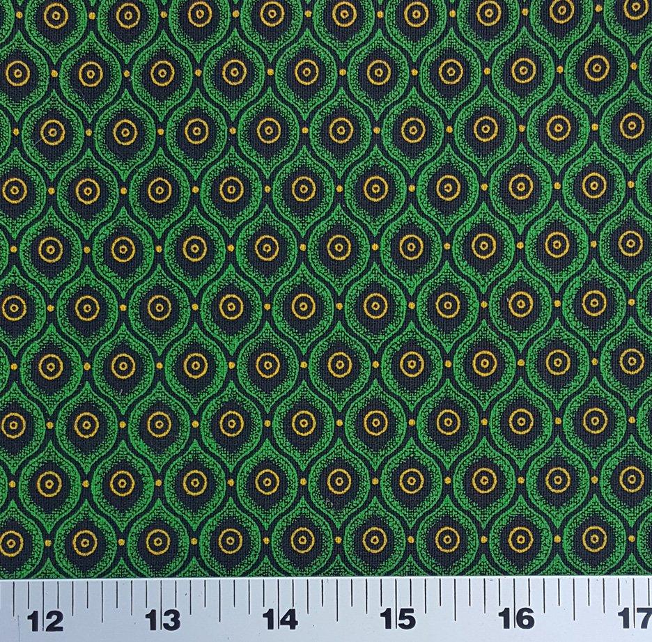 Green yellow and black shweshwe (0767)