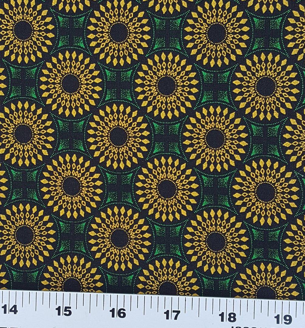 Green and gold on black shweshwe fabric (0824)
