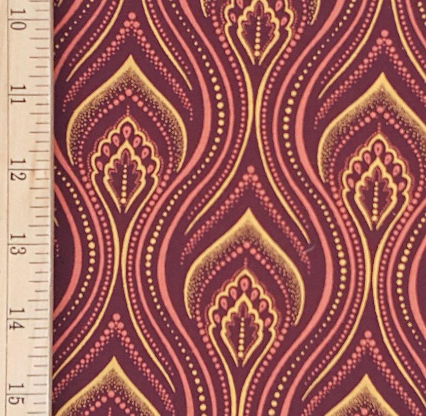 Da Gama Burgundy and Gold shweshwe fabric (0852)