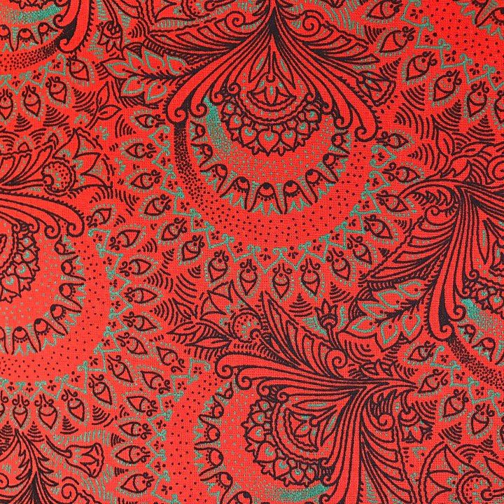 Orange and jade green shweshwe floral fabric (856)
