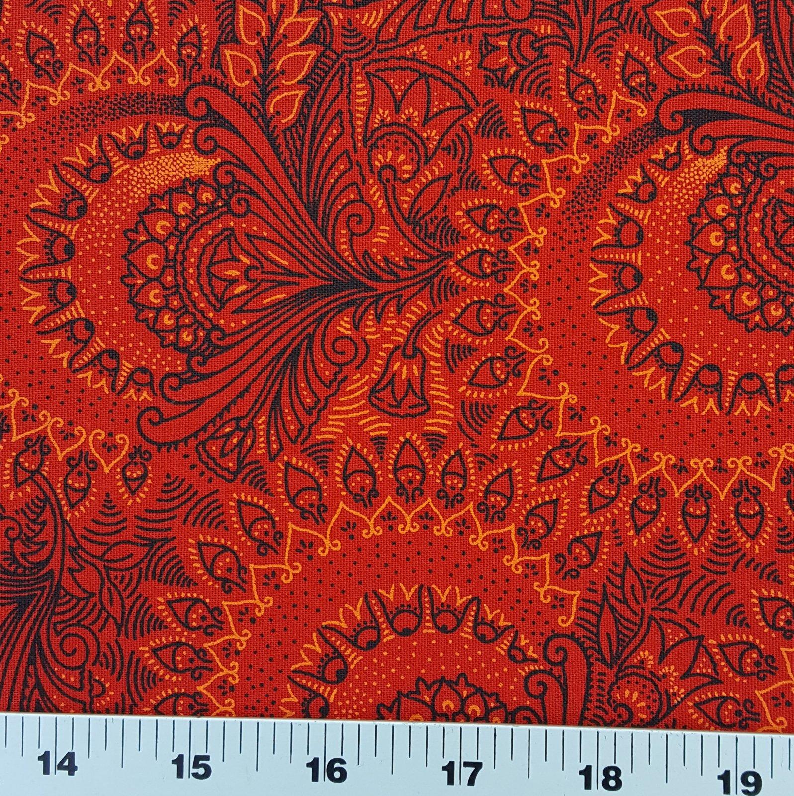 Red orange and black floral shweshwe (0856)