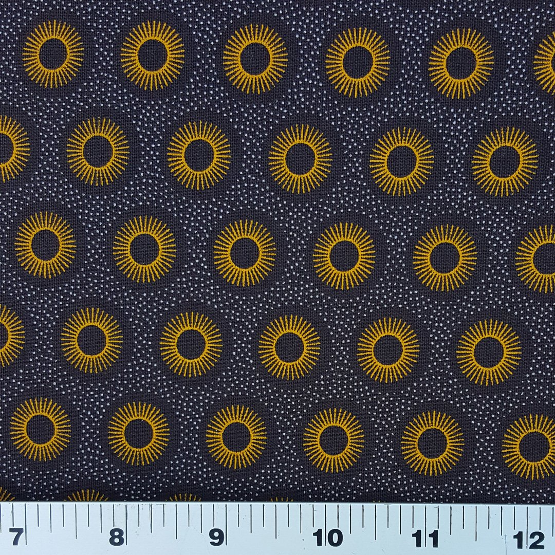 Gold on brown sunshine shweshwe fabric (0963)