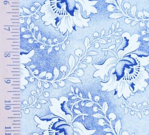 Blue and White Floral shweshwe (1214)