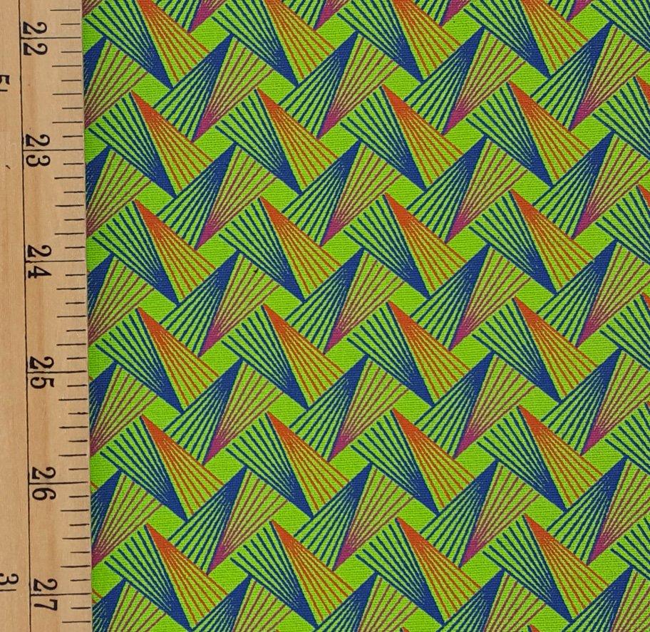 Da Gama Lime and Orange Geometric fabric (1289)