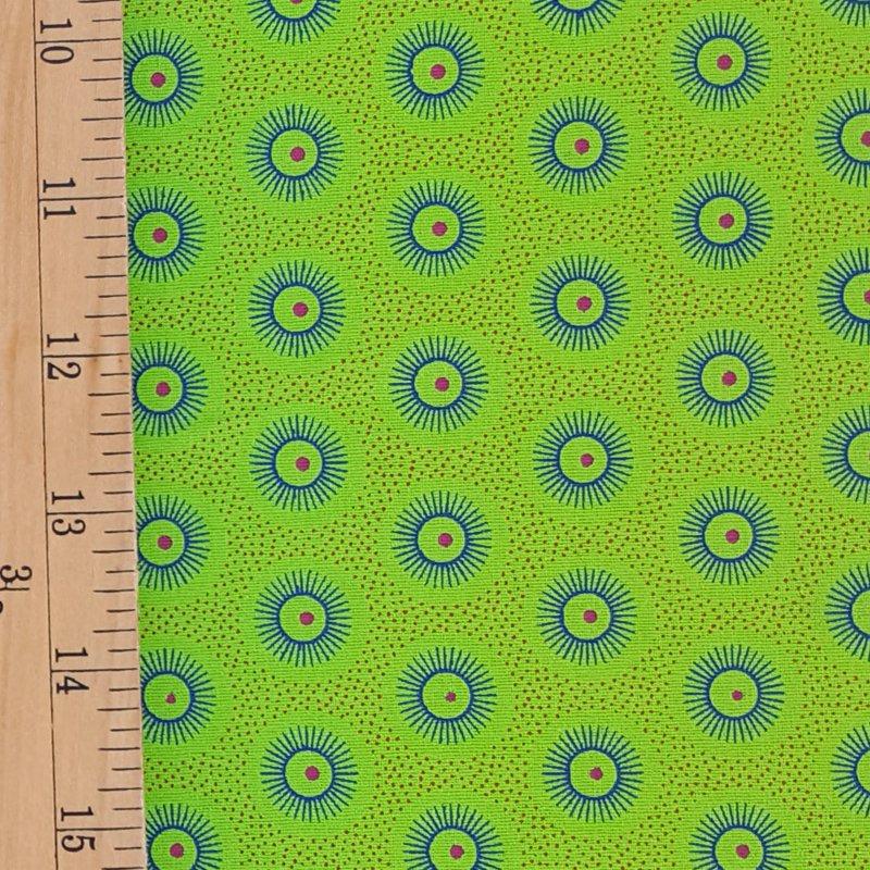 Da Gama Lime and Orange Sunburst fabric (1431)