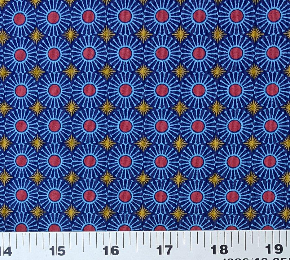Royal blue red and gold shweshwe fabric (1303)