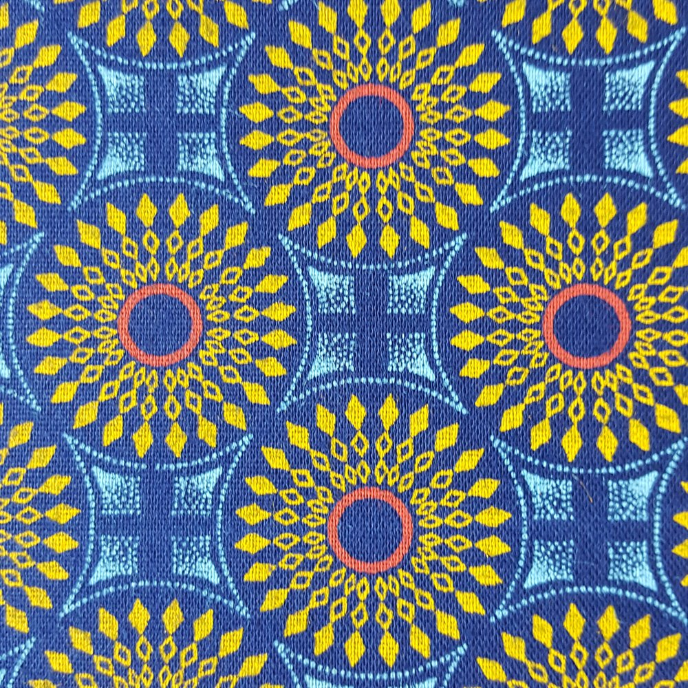 Royal blue medallion shweshwe fabric (1396)
