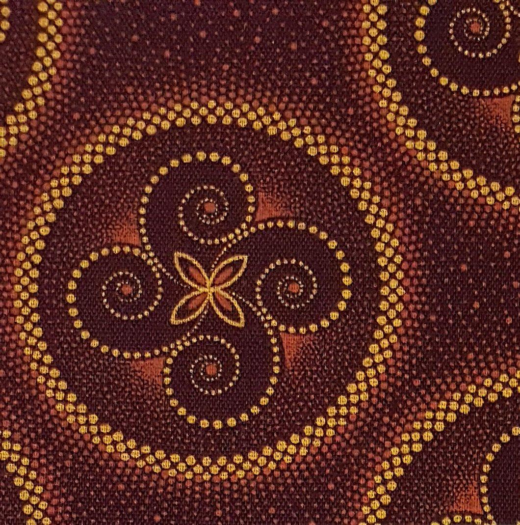 Burgundy celestial swirl shweshwe fabric (1404)