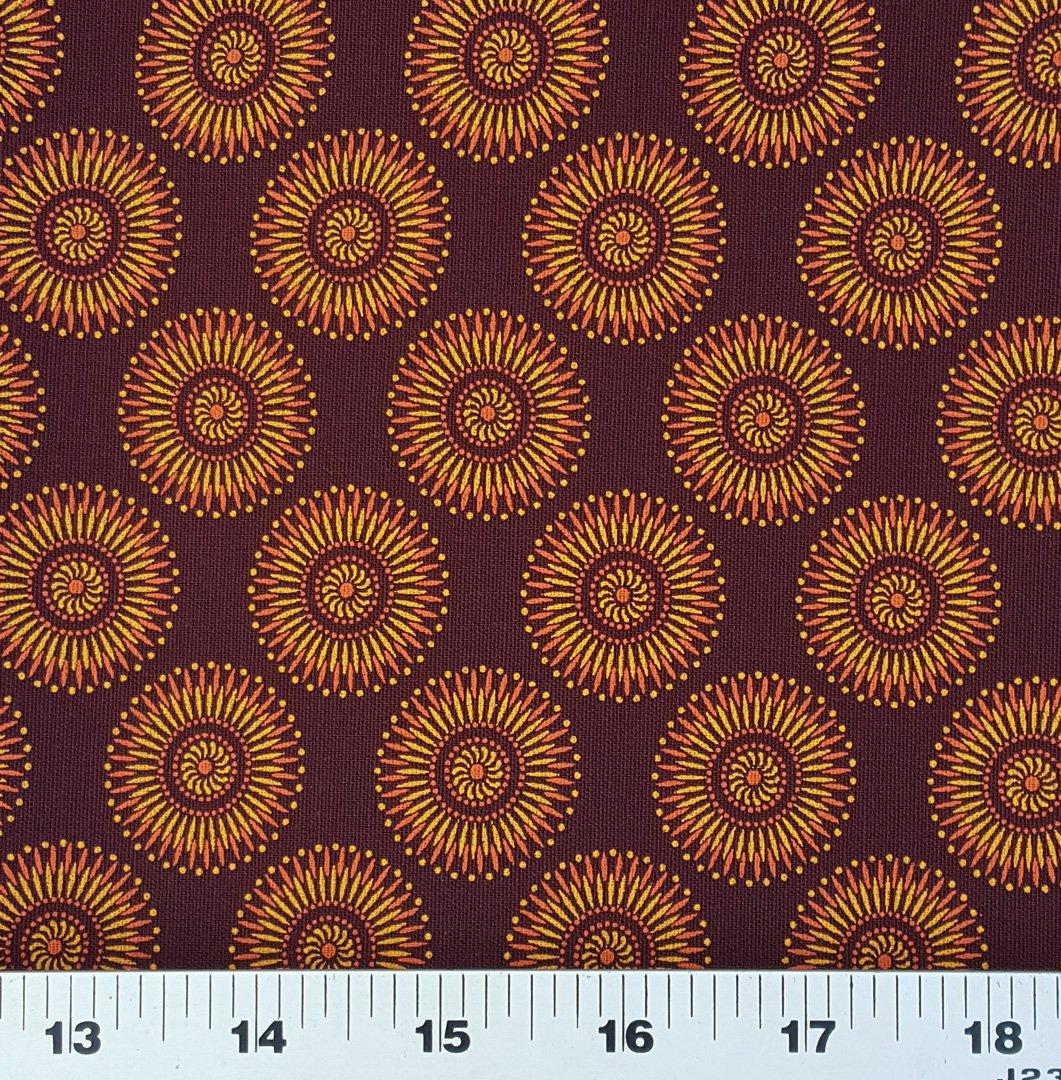 Burgundy modern floral shweshwe fabric (1405)