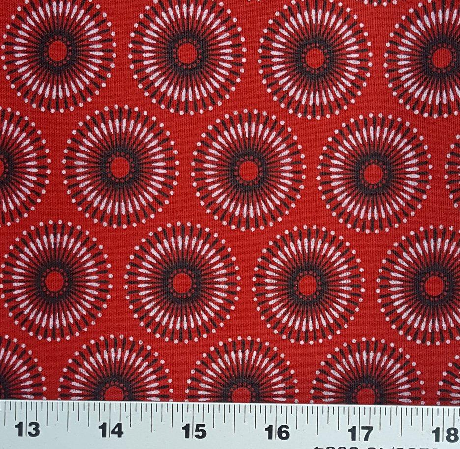 Red and black shweshwe circles (1406)
