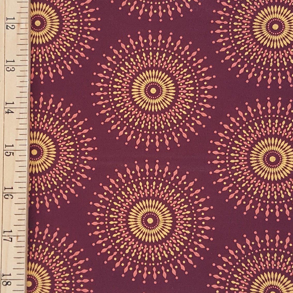 Da Gama Burgundy and Gold Sunburst fabric (1407)