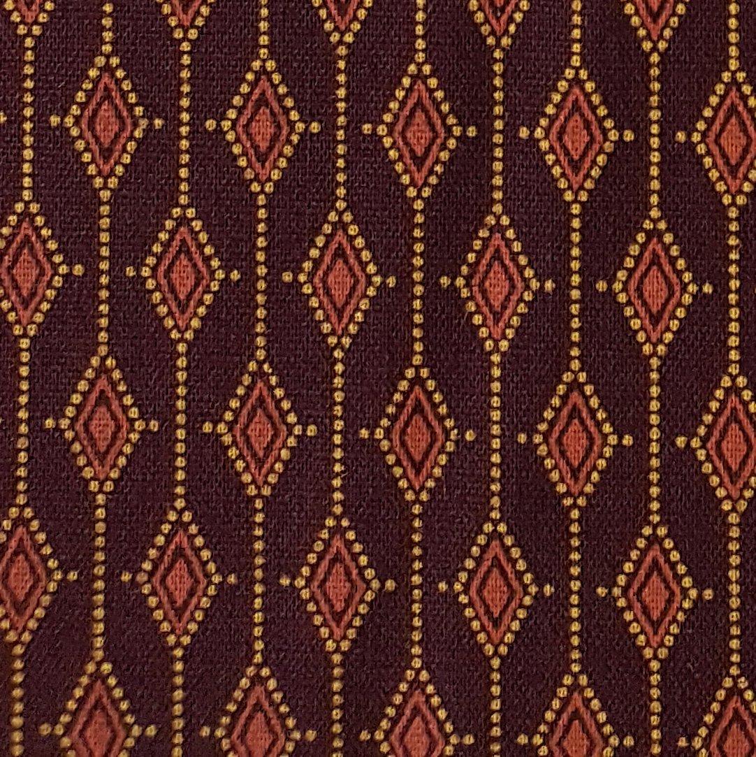 Burgundy diamond shweshwe fabric (1409)