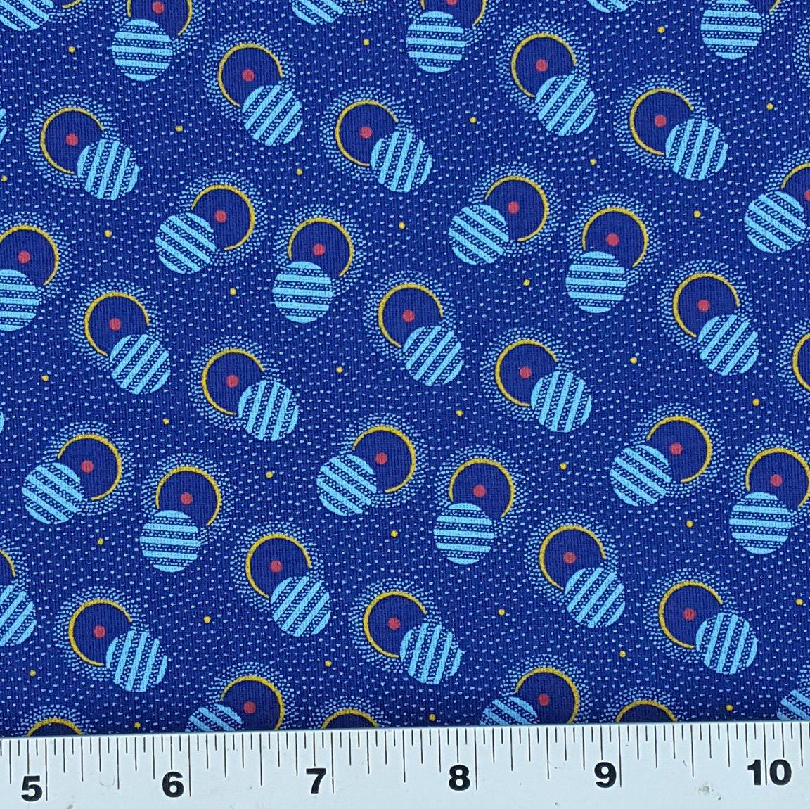 Indigo blue, red, gold, and light blue shweshwe fabric (1430)
