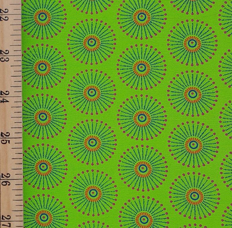 Da Gama Lime and Orange Fireworks Burst fabric (1431)