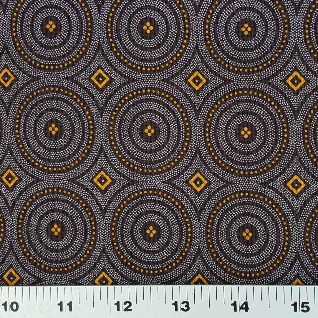 Gold on brown medallion shweshwe fabric (8897)