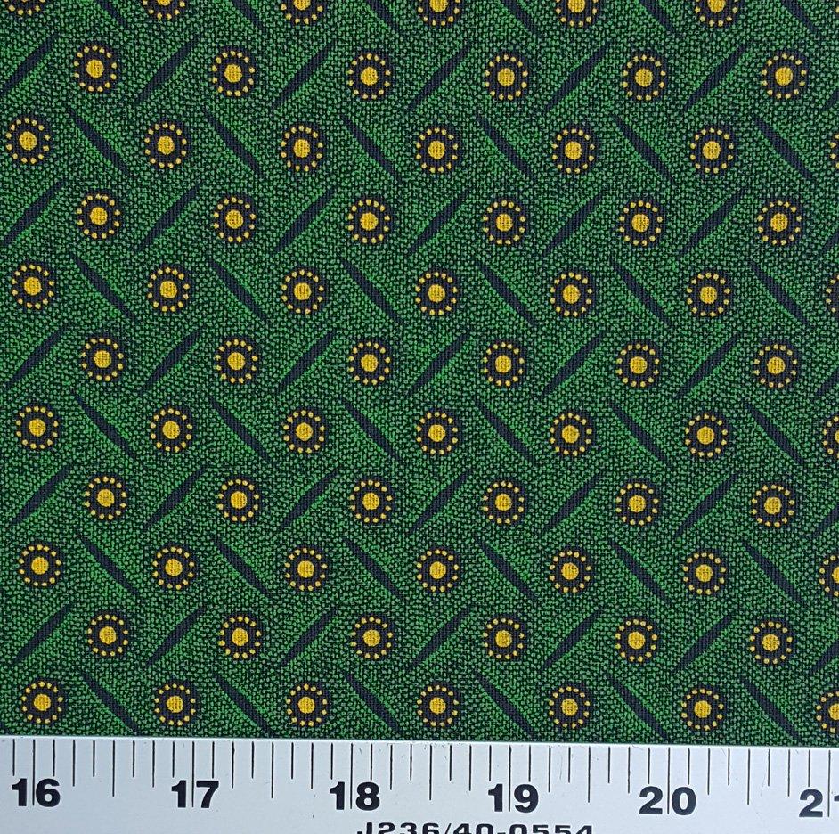 Green yellow and black shweshwe (9596)