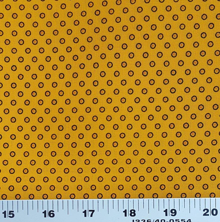 Da Gama Golden Yellow and orange small circle shweshwe (0167)
