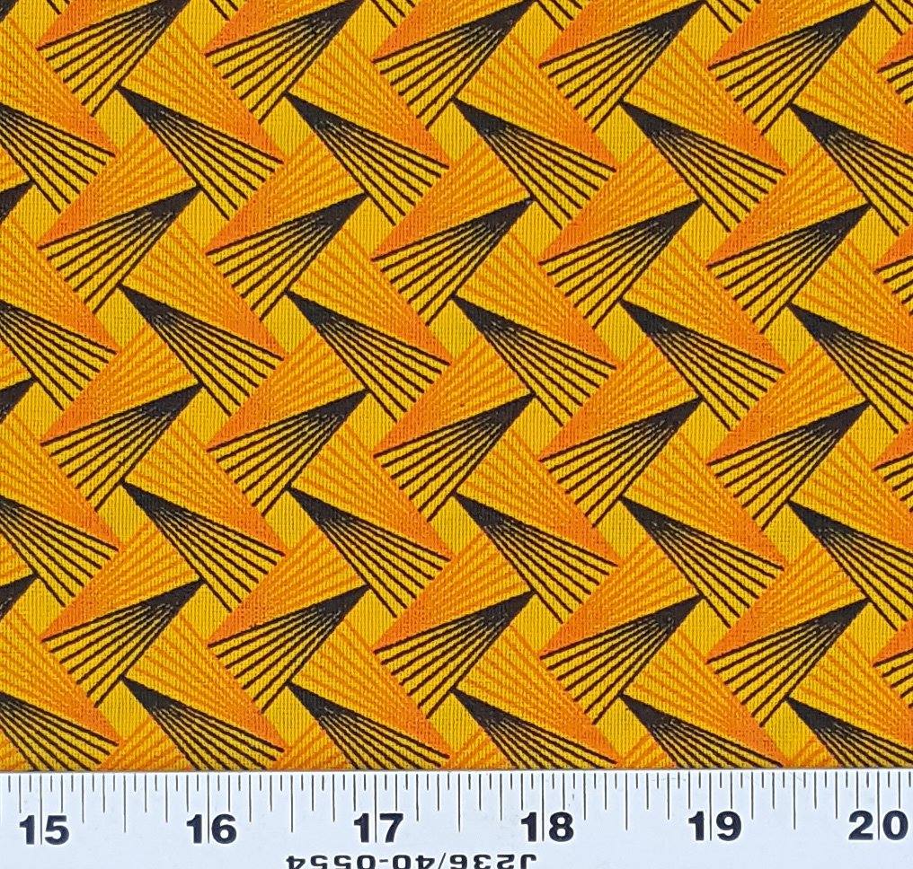 Golden Yellow and Orange Geometric Shweshwe (0195)