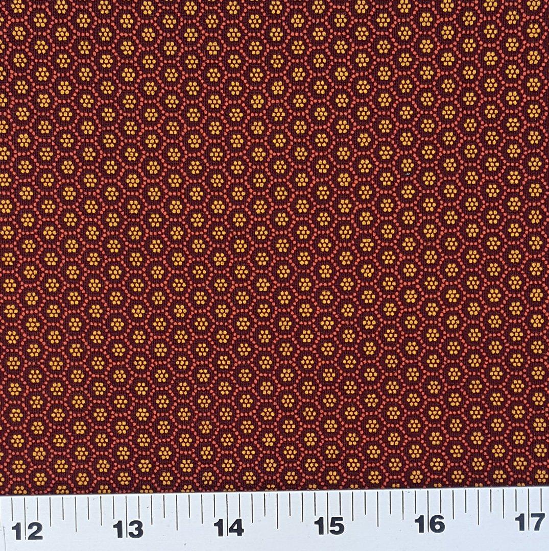 Burgundy small dot shweshwe fabric (0500)