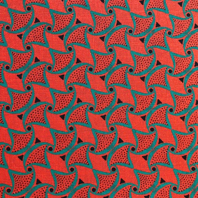 Orange and jade green shweshwe fabric (514)