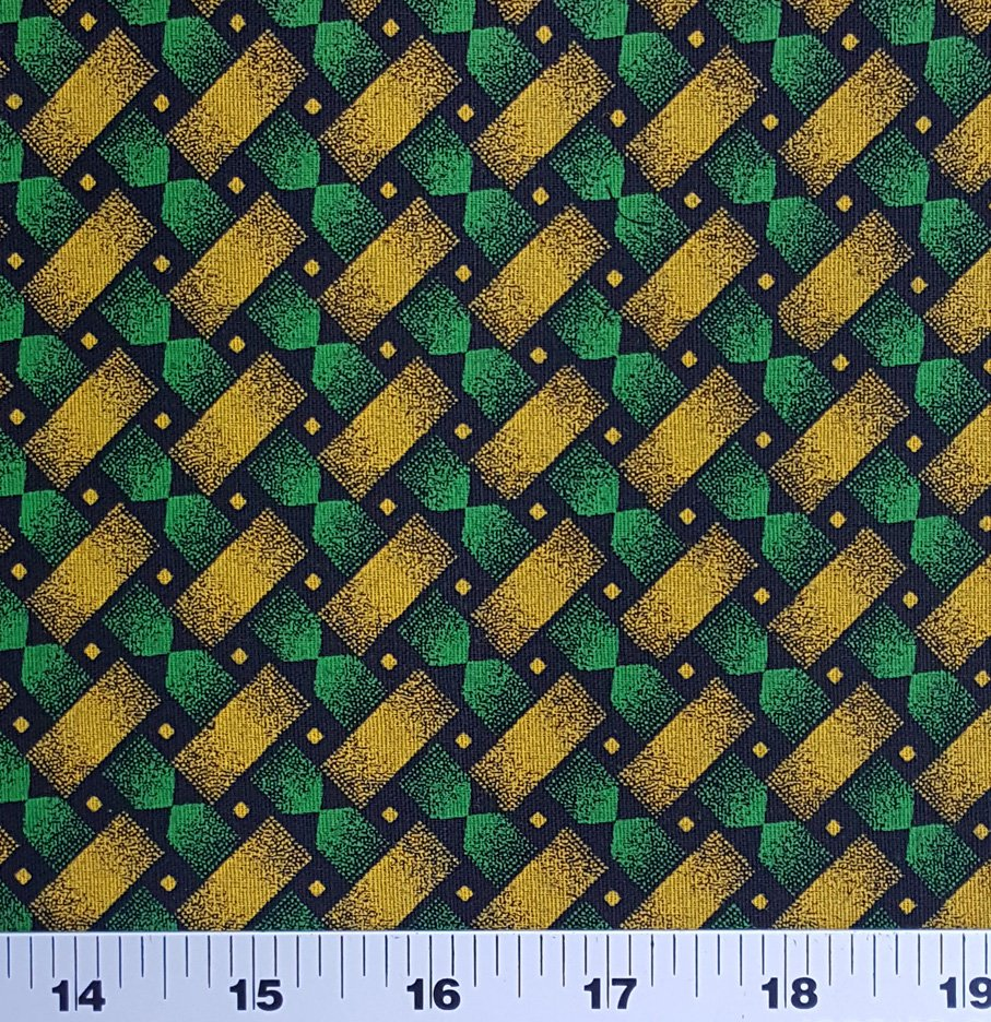 Green yellow and black shweshwe (0516)