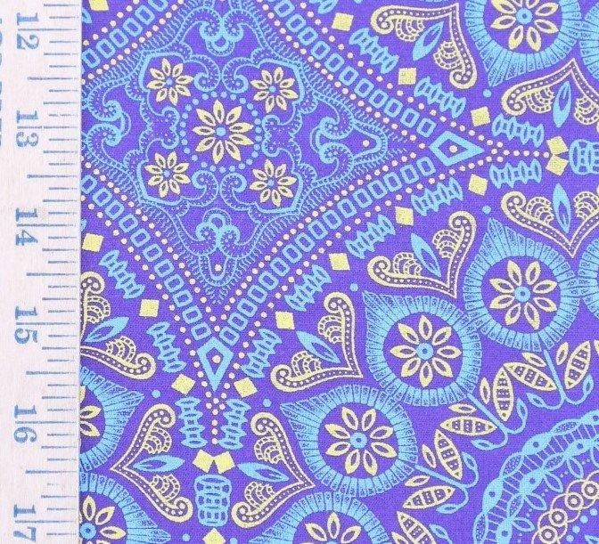 Blue Light Blue and Yellow Medallion Shweshwe (0527)
