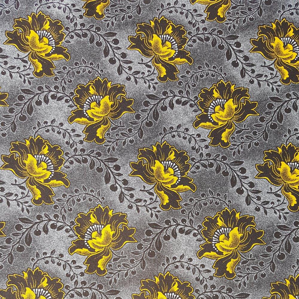 Gold flowers on dark brown shweshwe fabric (0528)