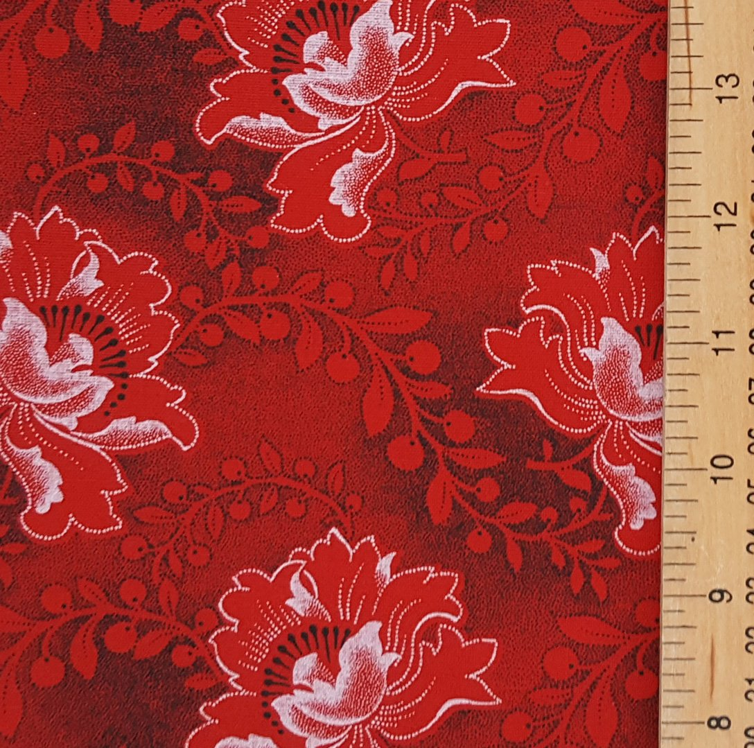 Da Gama Red and black floral shweshwe fabric (0528)
